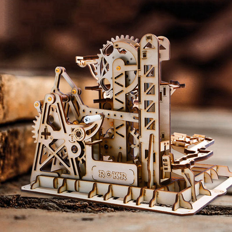 Wooden Building Kits DIY Drive Tower Coaster Model for Adult