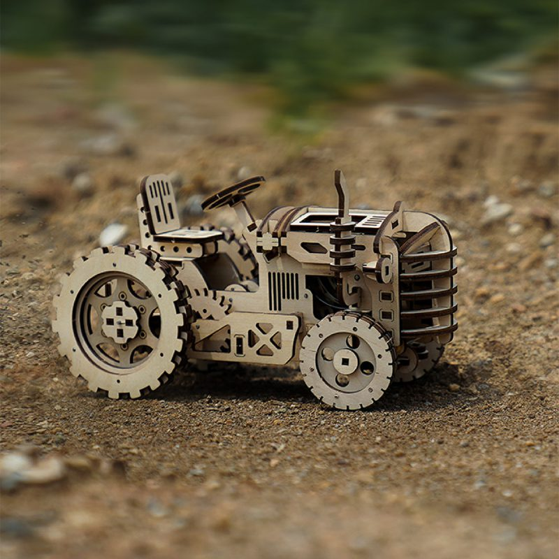 DIY Drive Tractor Model Building Puzzle Wooden Construction Kits for Adults