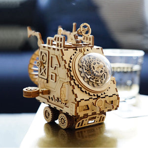 Diy 3d Wooden Steampunk Music Box Wood Model Kits For Adults