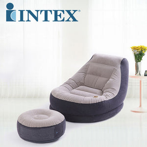 Flocking Air Bed Back Sofa Lazy Sofa Inflatable Mat Lifting Chair Air Footstool Chair