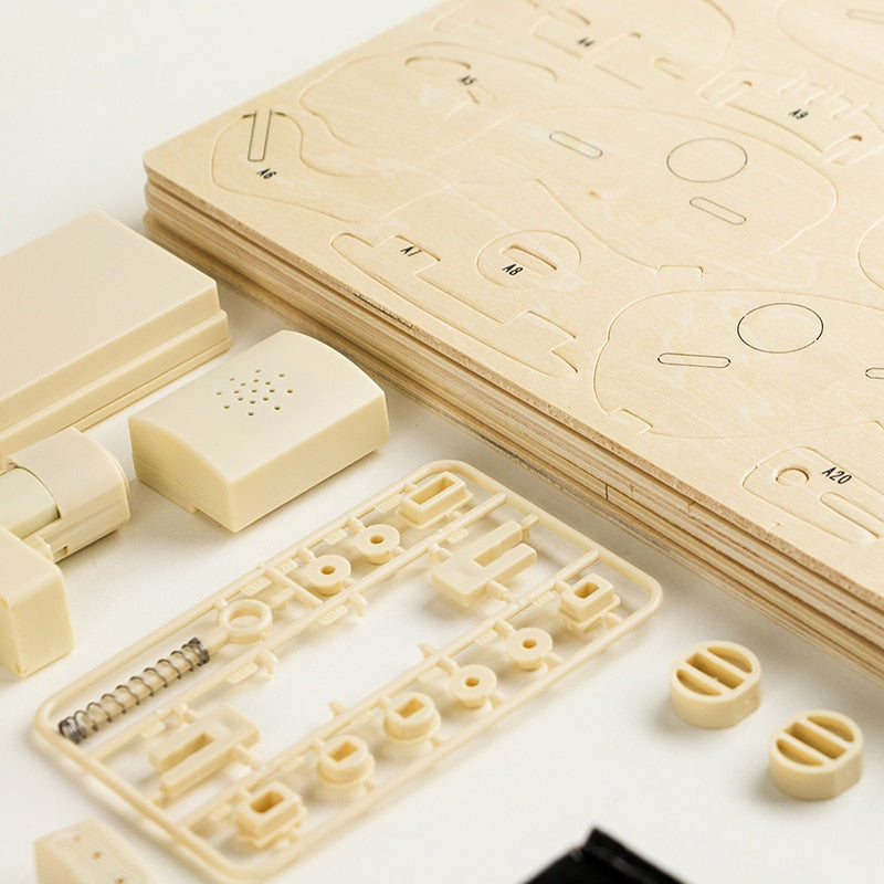 DIY 3D Wooden Puzzle Electric Model Toys Sound Control