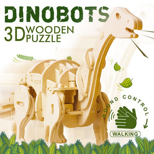 DIY 3D Electric Dinosaur Wooden Puzzle Assembly Model (Sound Control)