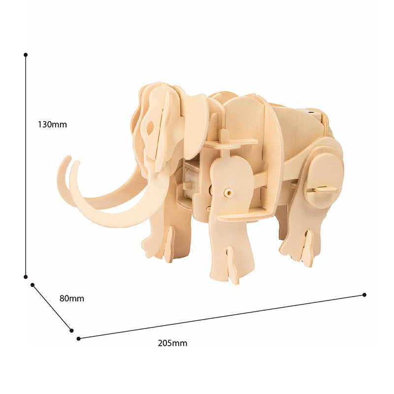 DIY Mammoth Model Handmade Toys 3D Wooden Puzzle (Power Control)