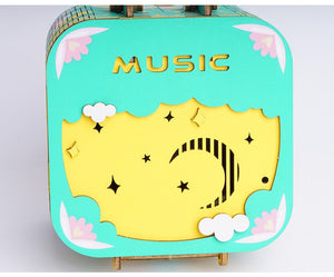 DIY Wooden Storage Music Box Kits Assembly Model Musical Toys