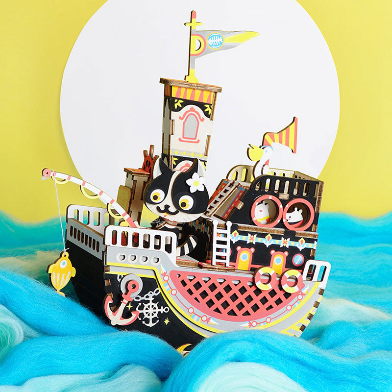 DIY 3D Fishing Kitty Wooden Puzzle Music Box Kits Toys for Children