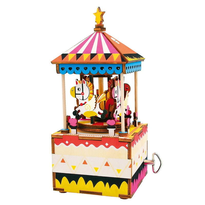 DIY Wooden Puzzle Music Box 3D Carousel Horse Musical Toys