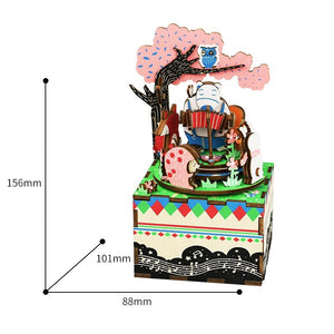 Wooden Music box DIY Rotating 3D Wood Musical Toys