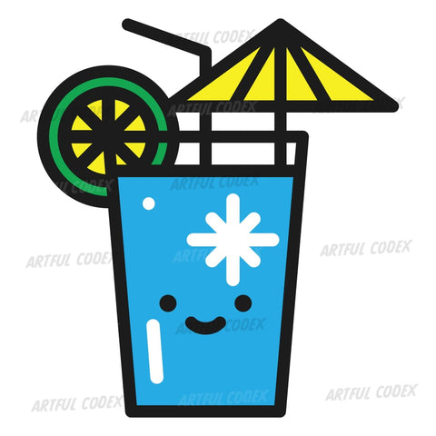 Blue Cocktail Illustration