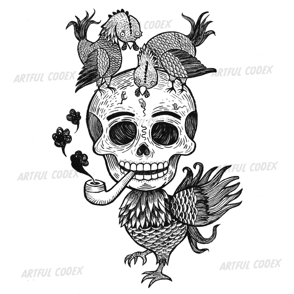 Chicken Skull Illustration