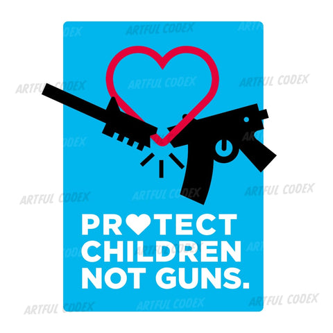 Protect Children Not Guns Illustration