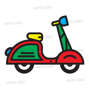 Retro Scooter Illustration