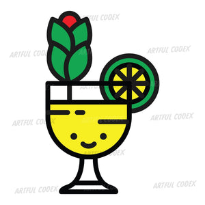 Yellow Cocktail Illustration
