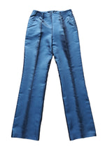 AKRIS Straight Trousers 100% Silk in Blue Size 38 (EU)