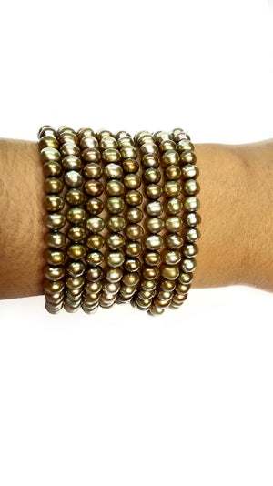 Bronze Mini Beads Vintage Bracelet with Golden Clasp