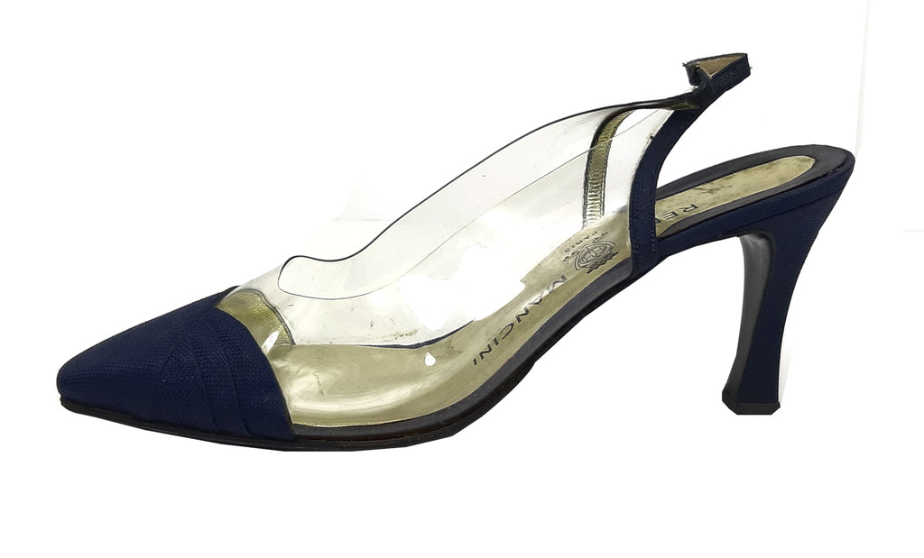 René Mancini Blue  Shoe with transparent slingback detail Size 37,5 (EU)