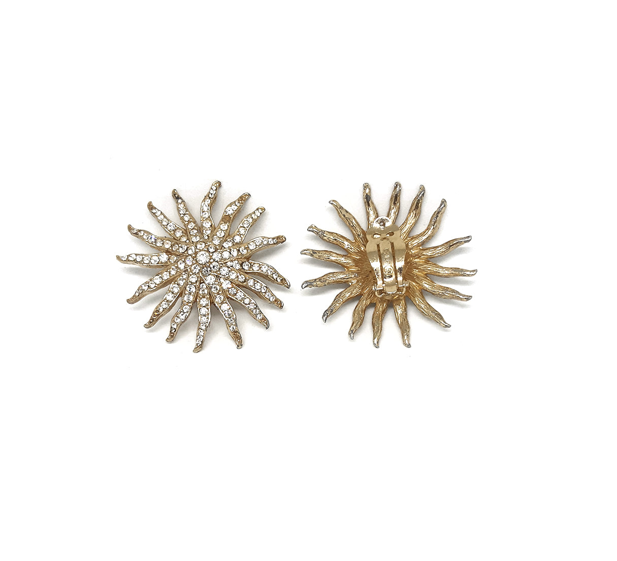Vintage Ciner Clip Earrings with Clear-Rhinestone Encrusted Design.