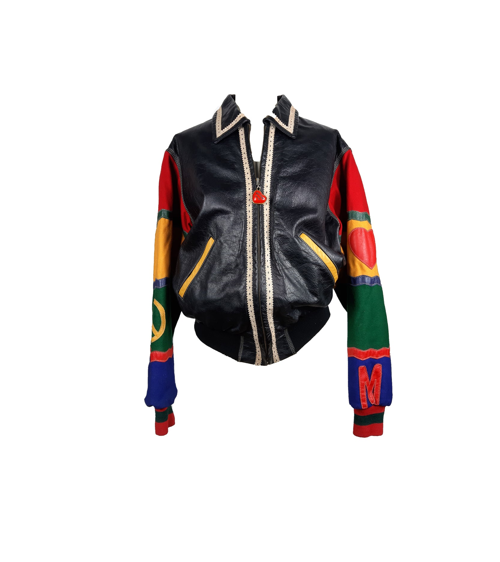 MOSCHINO Peace & Love Colorful Sleeved Bomber Styled Motorbike Leather Jacket Size 38 (EU)