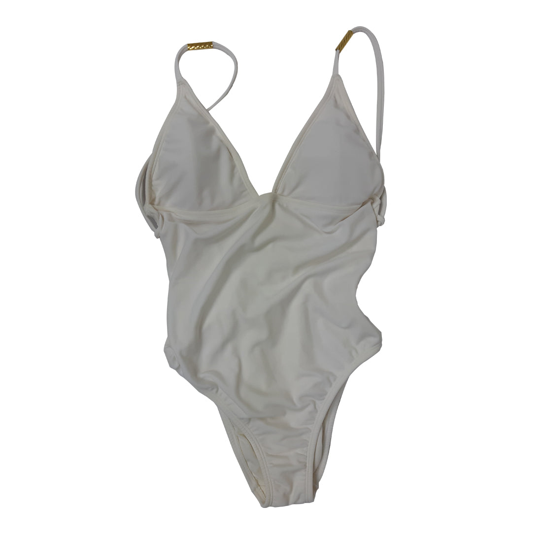 Lenny Swimsuit in White with Golden Beads  and Low Cut Back in Size S