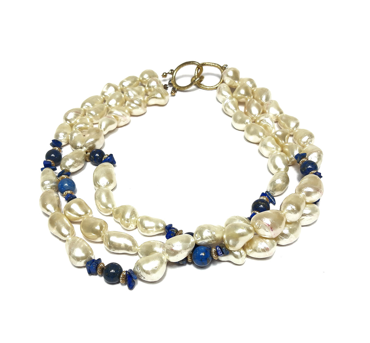 Genuine Freshwater Pearls and Lapis Lazuli Vintage Necklace