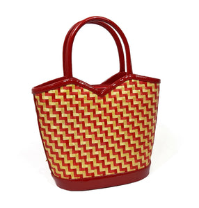 Lulu Guinness Straw Handbag in natural and red with printed linen