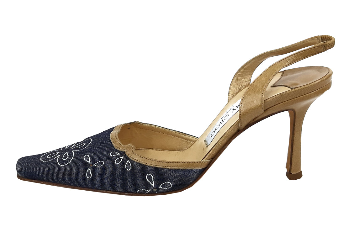 Jimmy Choo Denim and Beige Leather Sandals Size 37 (EU)
