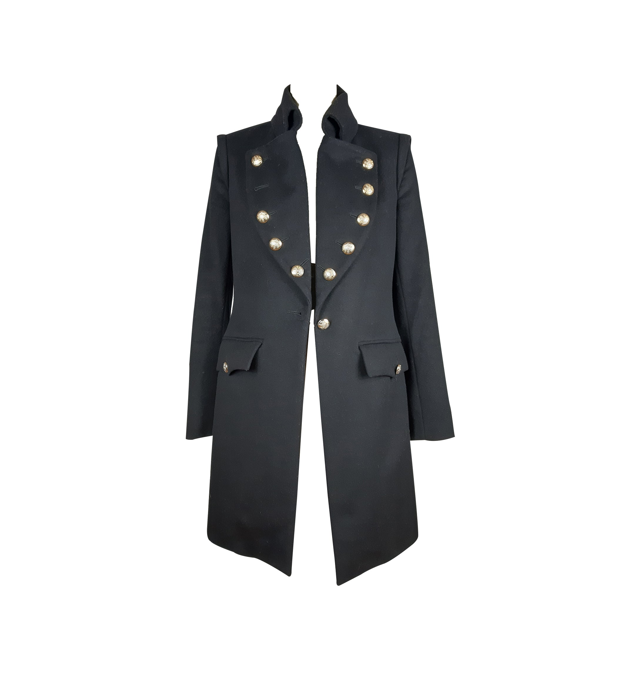 ADELE FADO Made in Italy Navy Blue Military Inspired Coat with Gold Detailing Size 38 (EU)