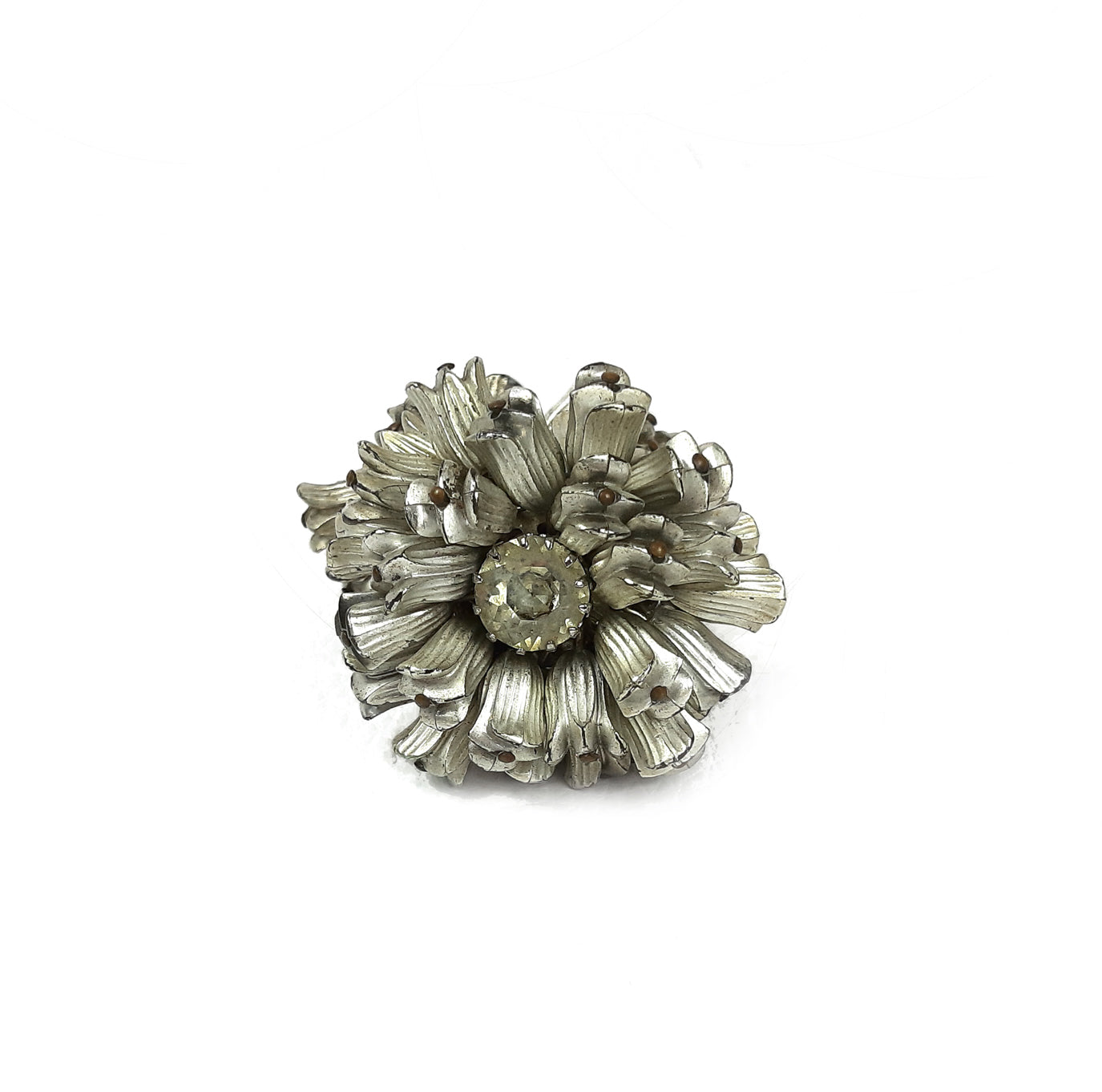 VINTAGE Earrings Flower Shaped in Grey/Silver with a White/Clear Gemstone