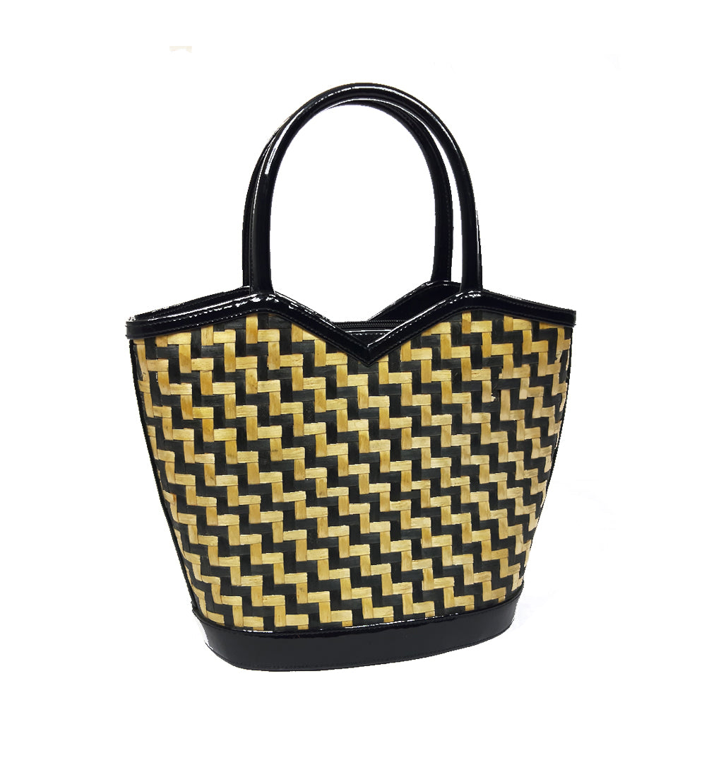 Lulu Guinness Straw Handbag in natural and black with printed linen