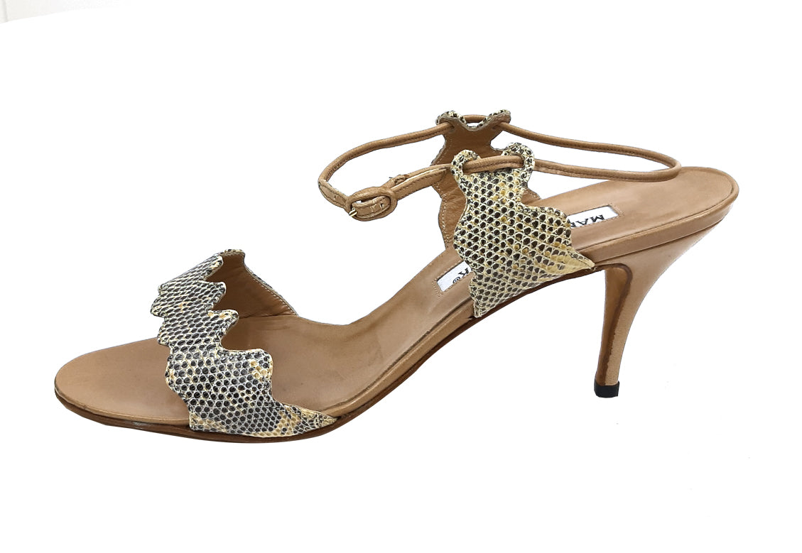 Manolo Blahnik Exotic Leather Beige Sandals Size 37,5 (EU)