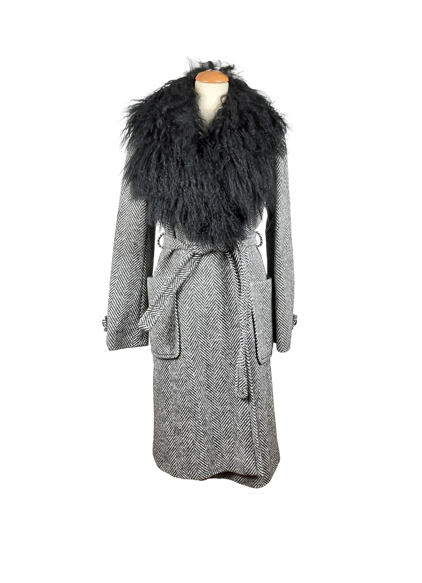 MAX&CO POP Couture Black/Grey Herringbone Wool Coat with Mongolic Goat Fur Collar Size 38 (EU)