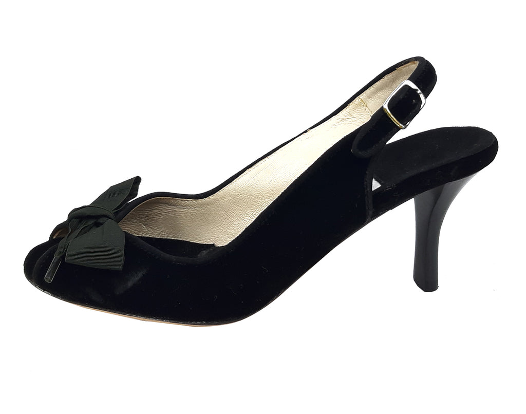 Emma Hopes Velvet Black Peep Toe Slingback Sandals with Bow Size 37 (EU)