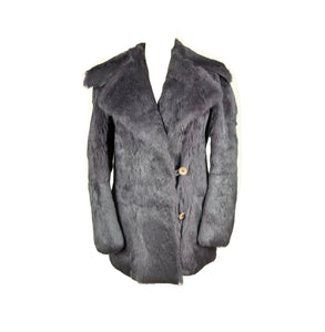 LUIS BUCHINHO Muted Dark Purple Fur Coat with Leather Details Size M (EU)