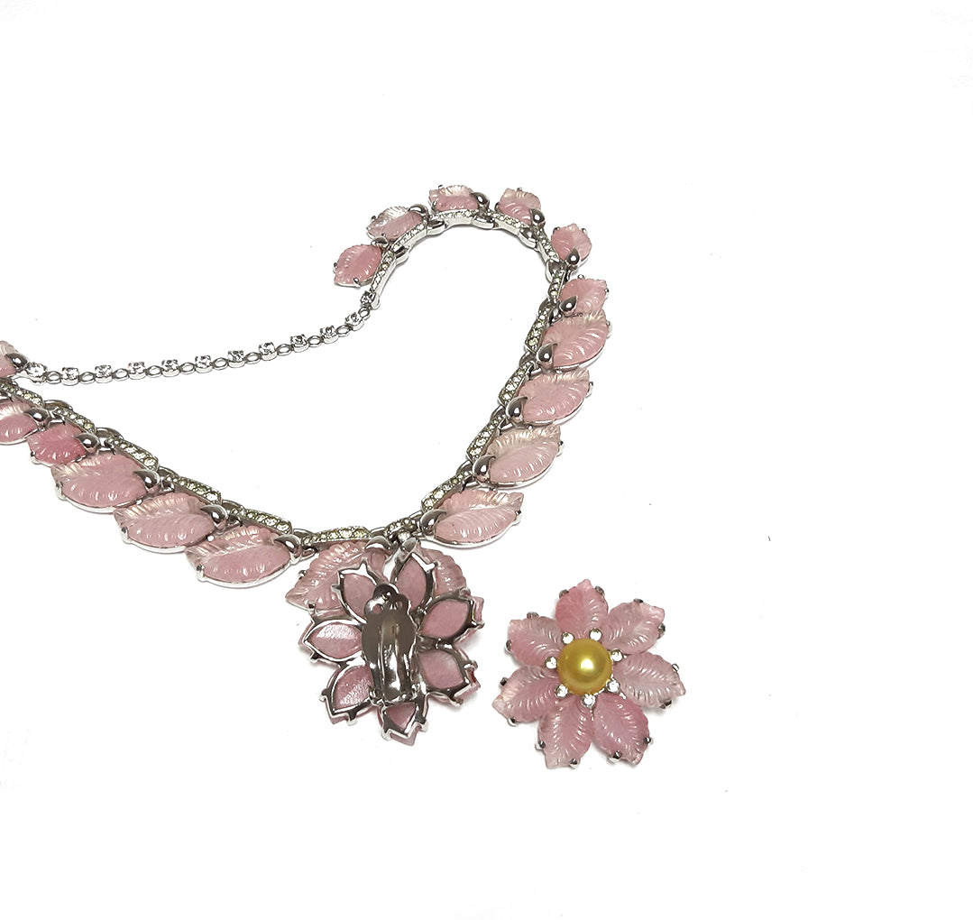 Vintage Pink Flower and Petals Set with Necklace and Clip Earrings