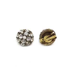 Round Sparkling Rhinestones Vintage Clip Earrings