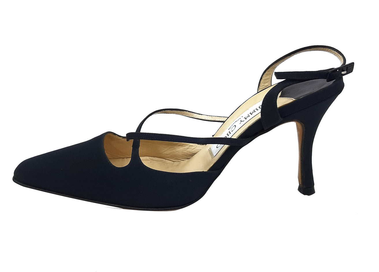 Jimmy Choo Dark Blue Slingback Sandals Size 37 (EU)