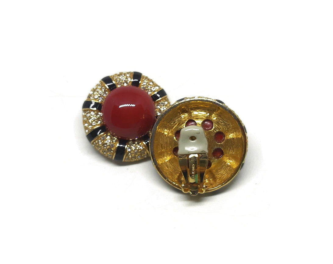 Vintage Signed Ciner Earrings with Red Cabochon Center and encrusted Rhinestone on the border