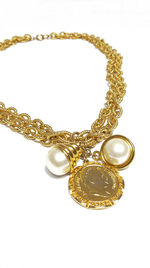 Golden Chain Vintage Necklace (or Belt) with Napoleon Coin and Pearl pendant
