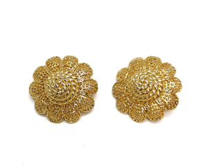 Nina Ricci Golden Rope Flower Vintage Clip Earrings