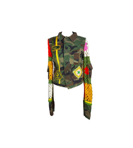 (UNKNOWN) Camouflage/Military Inspired Jacket with Crochet Embroidered Sleeves and Back and Stitching Details Size M (INT)