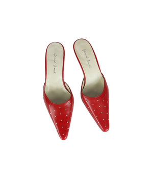 Gerard Darel Red Pointed Mules with Silver Studs Size 38 (EU)