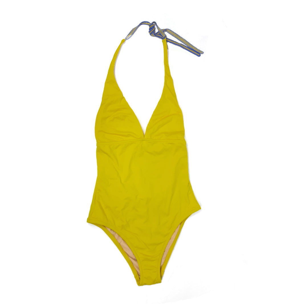 Yellow Swimsuit With Yellow and Purple Lace Butterfly Fits Size S