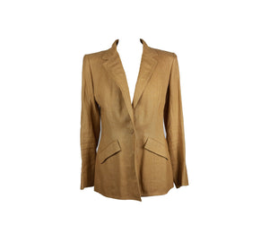Catherine Walker 100% Linen Beige Fitted Blazer with Embroiderie in the back Size 42 (EU) (Fits 40)