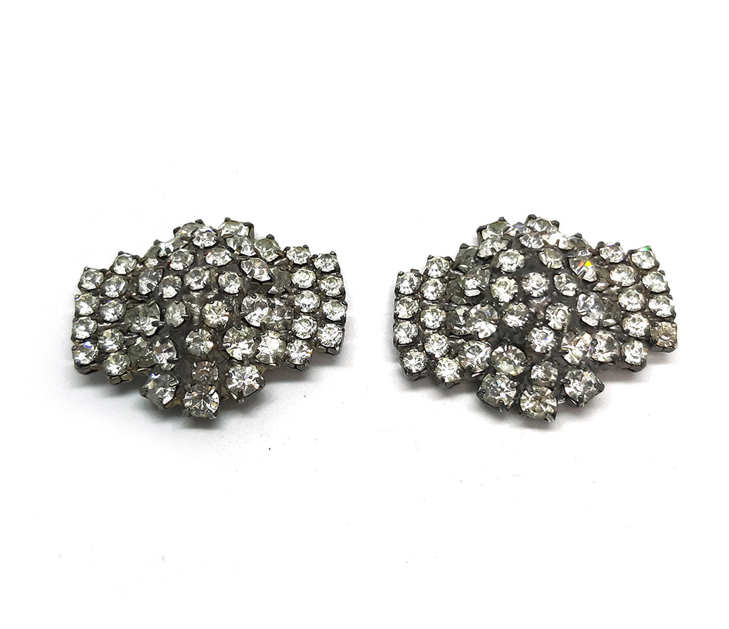 Nancy Katz Signed Clip Earrings with Sparkling Rhinestones
