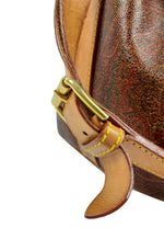 ETRO Iconic Paisley Print Bucket Bag with Gold Details and Camel Outline and Handle