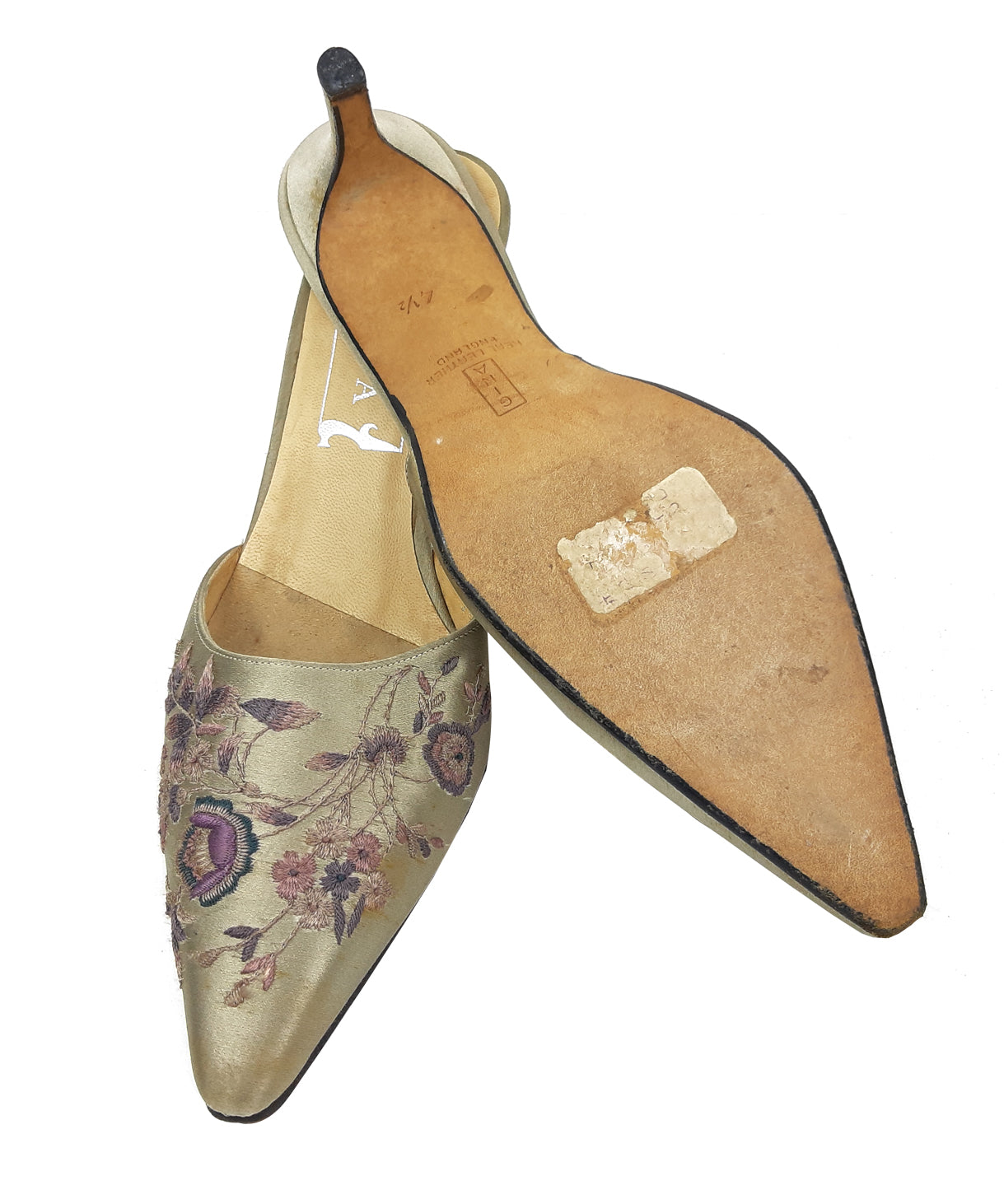 Gina Embroidered Flowered Beige Mules Size 37,5 (EU)