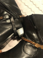 Luis Onofre Black Boots with Detachable Golden Hardware and Side Zippers Size 39 (EU)