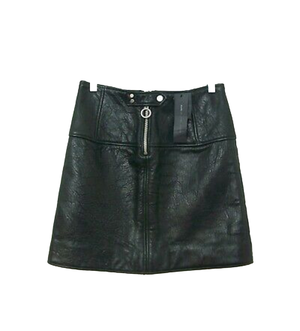 MARC BY MARC JACOBS Black Leather Mini Skirt  Size 42 (EU)