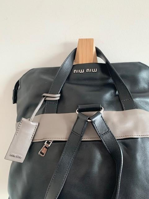 Miu Miu Green, Grey and Black Backpack in Leather