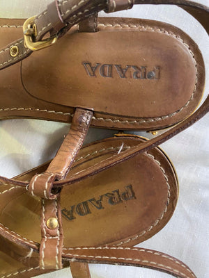 Prada Brown Leather Sandals with Metal Details Size 40 (EU)