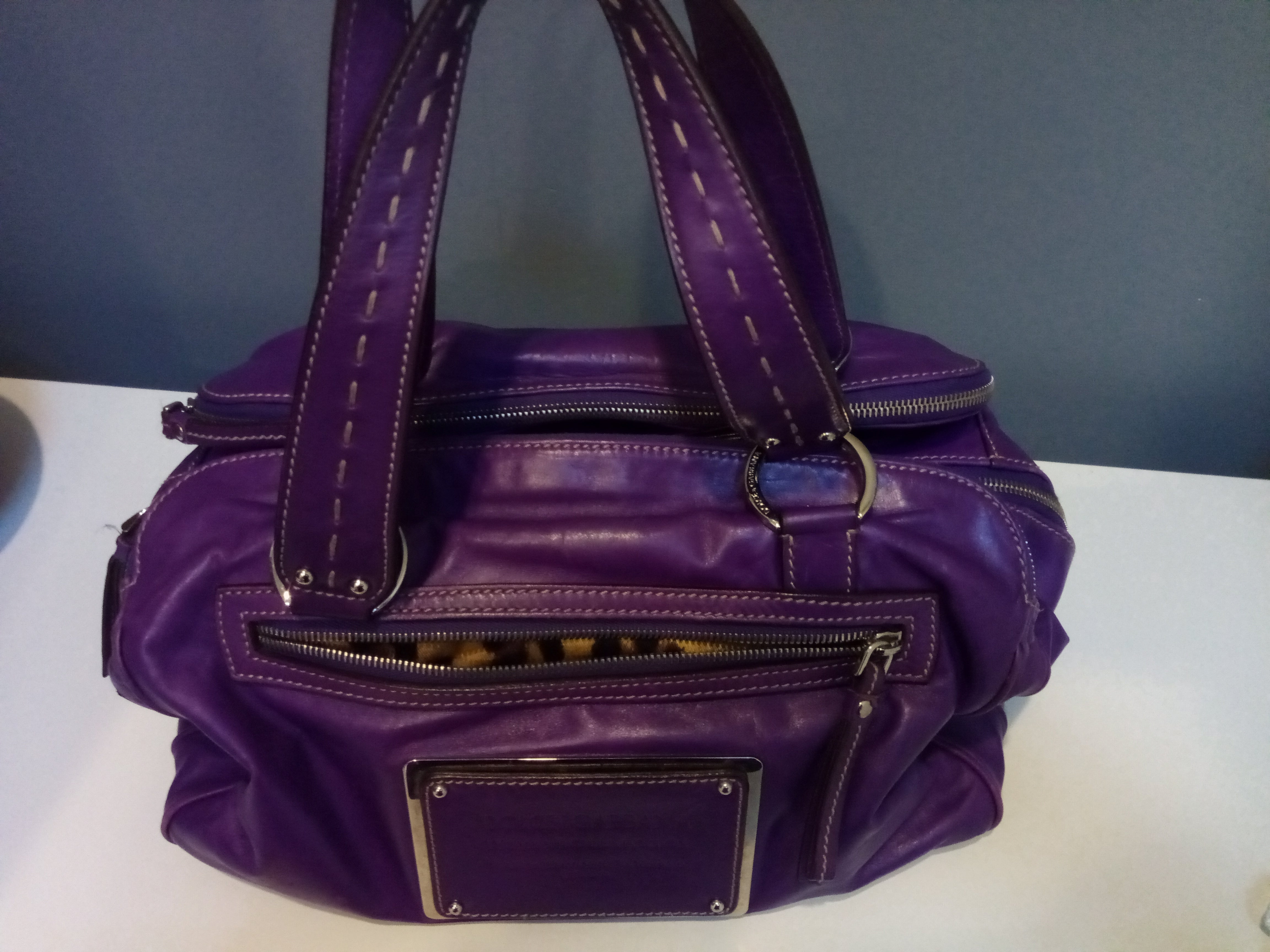 Dolce and Gabbana Purple Leather Bag with Animal Print Interior, Three Compartments and Several Pockets
